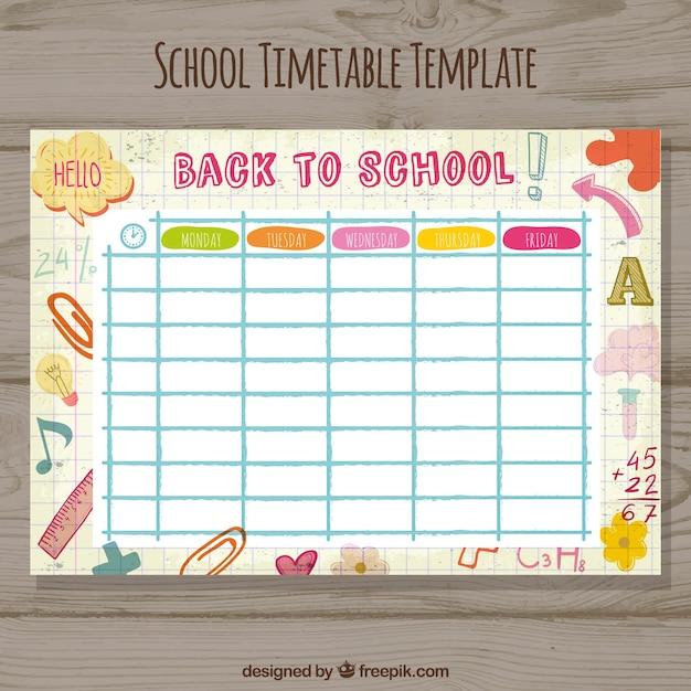 Modelo de horário escolar Vetor grátis