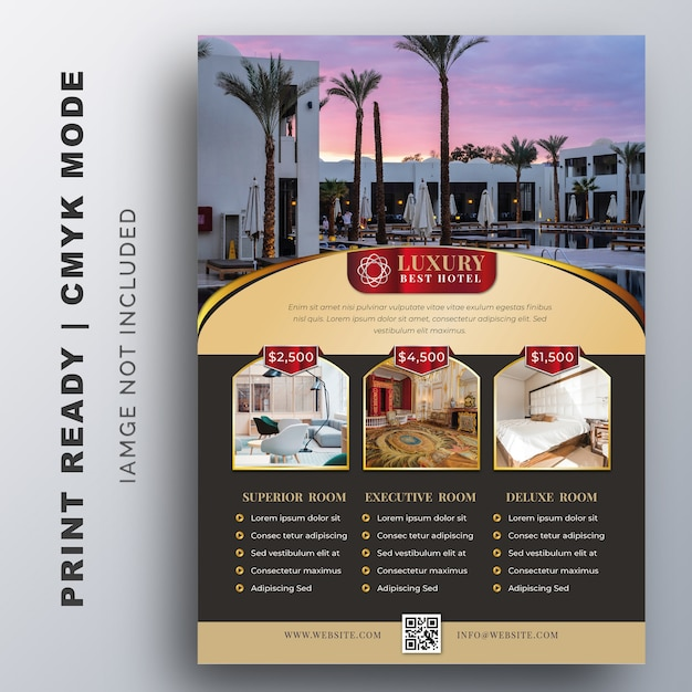 Modelo de hotel de luxo para cartaz, flyer, modelo de design Vetor Premium