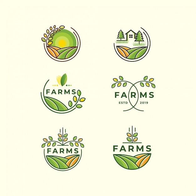 Modelo de ícone de conjunto de logotipo de fazenda Vetor Premium