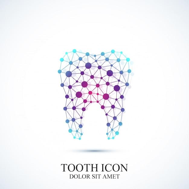 Modelo de ícone de dente. projeto médico Vetor Premium
