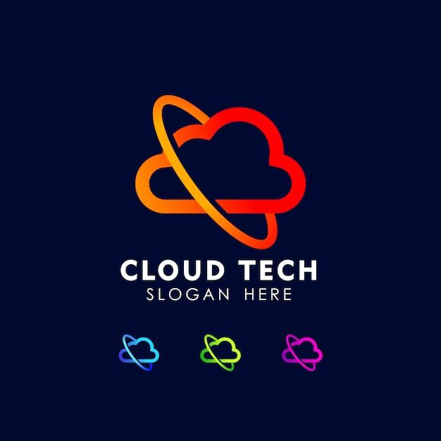 Modelo de ícone de design de logotipo de tecnologia de nuvem Vetor Premium