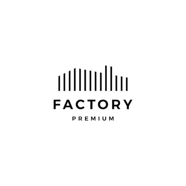 Modelo de ícone de logotipo de fábrica Vetor Premium