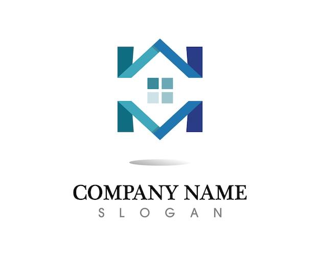 Modelo de ícones de logotipo de imóveis e edifícios residenciais Vetor Premium
