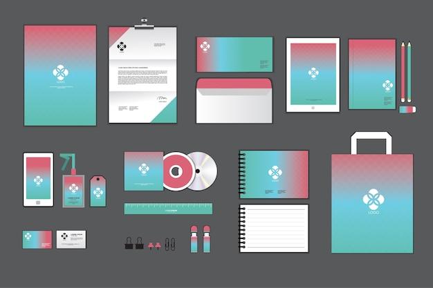 Modelo de identidade corporativa rosa e verde para o seu negócio Vetor Premium