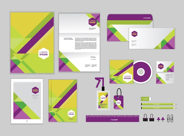 Modelo de identidade corporativa verde e roxo Vetor Premium
