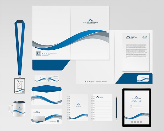Modelo de identidade corporativa Vetor Premium
