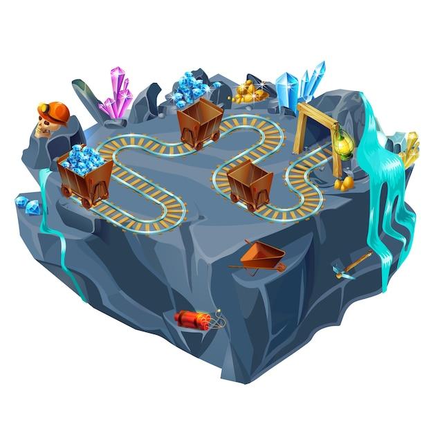 Modelo de ilha de jogo de mineração isométrica Vetor grátis