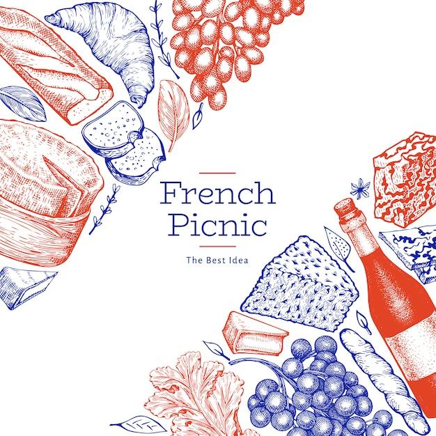 Modelo de ilustração de comida francesa. ilustrações de refeição de piquenique de mão desenhada. vinho e lanche diferente estilo gravado. Vetor Premium