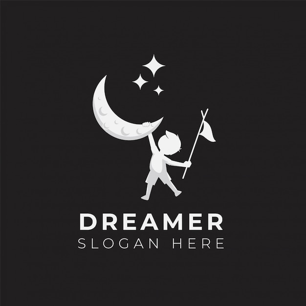 Modelo de ilustração de design de logotipo de sonho de criança Vetor Premium