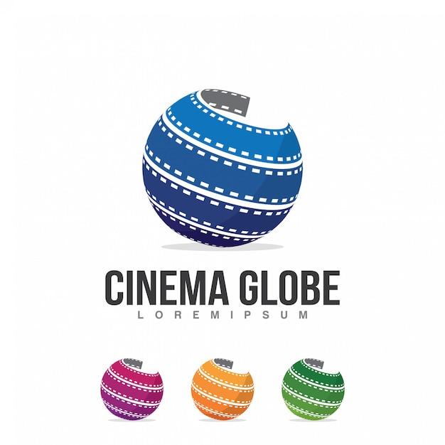 Modelo de ilustração de logotipo de globo de cinema Vetor Premium