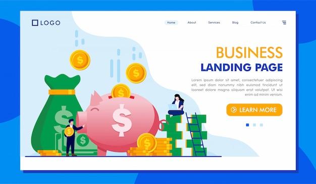 Modelo de ilustração de site de página de destino de negócios Vetor Premium