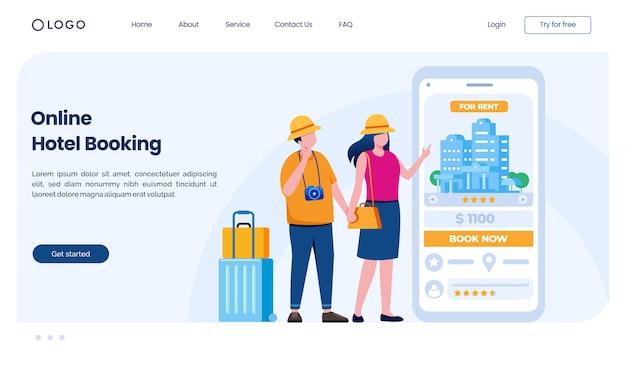 Modelo de ilustração de site de página de destino de reserva de hotel online Vetor Premium
