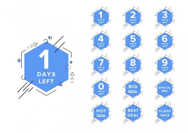 Modelo de ilustração vetorial contagem regressiva dias número à esquerda Vetor Premium