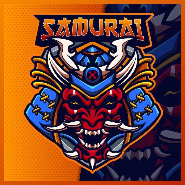 Modelo de ilustrações de design do logotipo da mascote samurai oni e logotipo devil ninja para jogo em equipe Vetor Premium