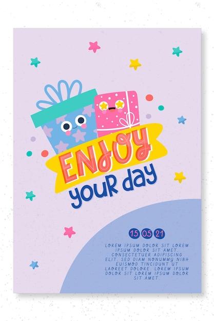 Modelo de impressão de cartão de festa de aniversário infantil Vetor grátis
