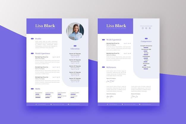 Modelo de impressão de curriculum vitae minimalista Vetor Premium