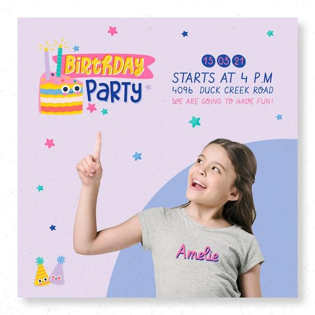 Modelo de impressão de flyer quadrado para festa de aniversário infantil Vetor grátis