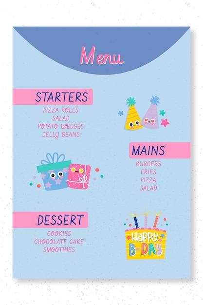 Modelo de impressão de menu de festa de aniversário infantil Vetor grátis