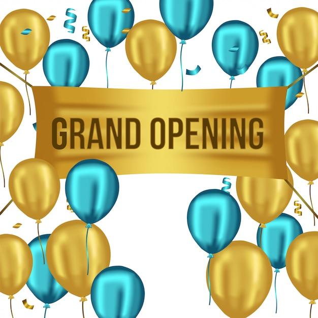Modelo de inauguração com balões azuis e ouro Vetor Premium