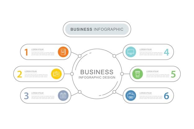 Modelo de índice de guia de infográficos de dados com linha fina. Vetor Premium