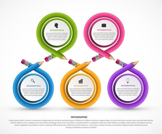 Modelo de infografia com lápis. Vetor Premium