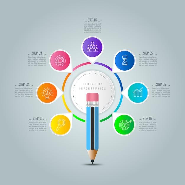 Modelo de infografia de educação 7 opção de etapa. Vetor Premium