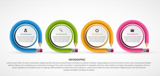 Modelo de infografia de educação com lápis. Vetor Premium