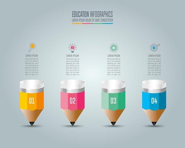 Modelo de infografia de educação, opção de 4 passos. Vetor Premium