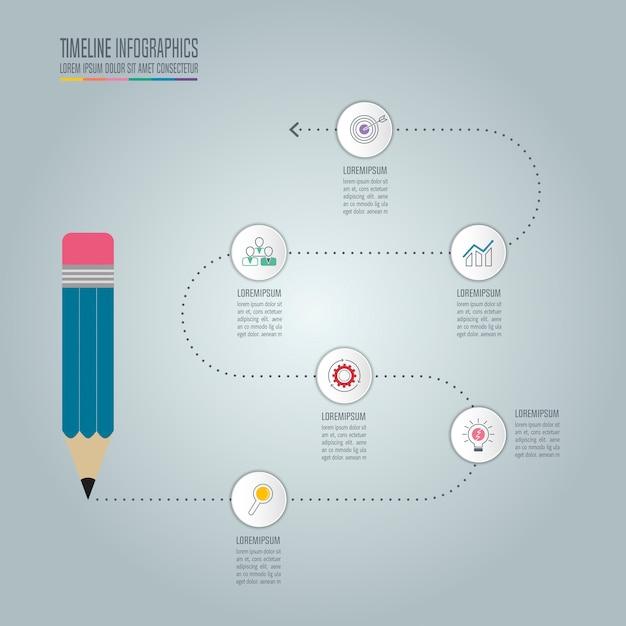 Modelo de infografia de educação, opção de 5 etapas. vetor de desenho infográfico da linha do tempo. Vetor Premium