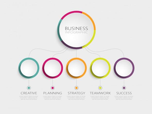 Modelo de infográfico 3d abstrato com cinco etapas para o sucesso Vetor Premium