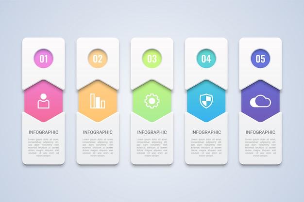 Modelo de infográfico colorido 5 etapas Vetor Premium