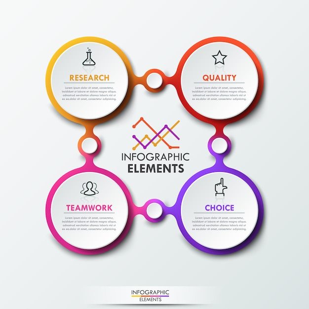Modelo de infográfico com 4 elementos circulares conectados Vetor Premium