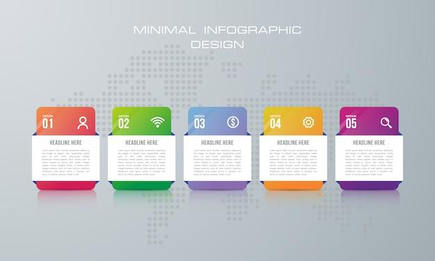 Modelo de infográfico com 5 opções, fluxo de trabalho, gráfico de processo, design de infográficos de cronograma Vetor Premium