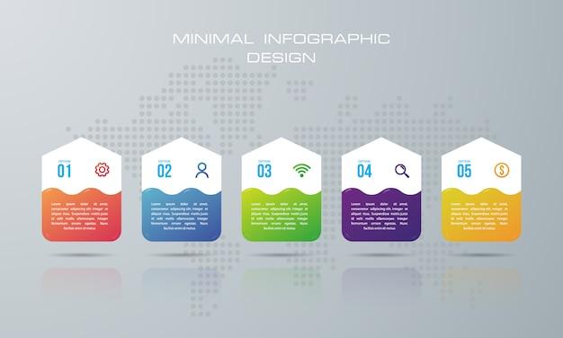 Modelo de infográfico com 5 opções Vetor Premium