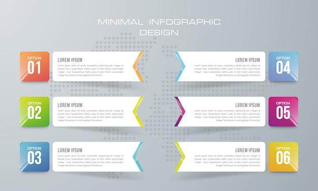 Modelo de infográfico com 6 opções, fluxo de trabalho, gráfico de processo, design de infográficos de cronograma Vetor Premium