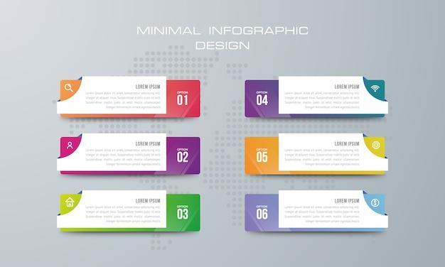 Modelo de infográfico com 6 opções, fluxo de trabalho, gráfico de processo, linha do tempo infográficos design vector Vetor Premium