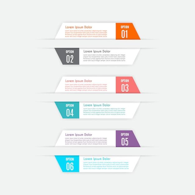 Modelo de infográfico com 6 opções Vetor Premium