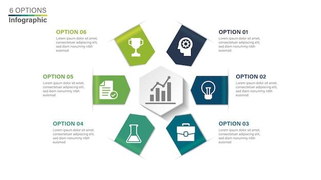 Modelo de infográfico com 6 opções. Vetor Premium