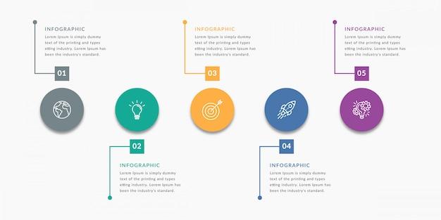 Modelo de infográfico com cinco opções Vetor Premium