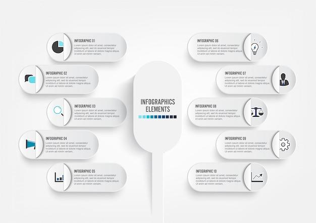 Modelo de infográfico com círculos de papel 3d Vetor Premium
