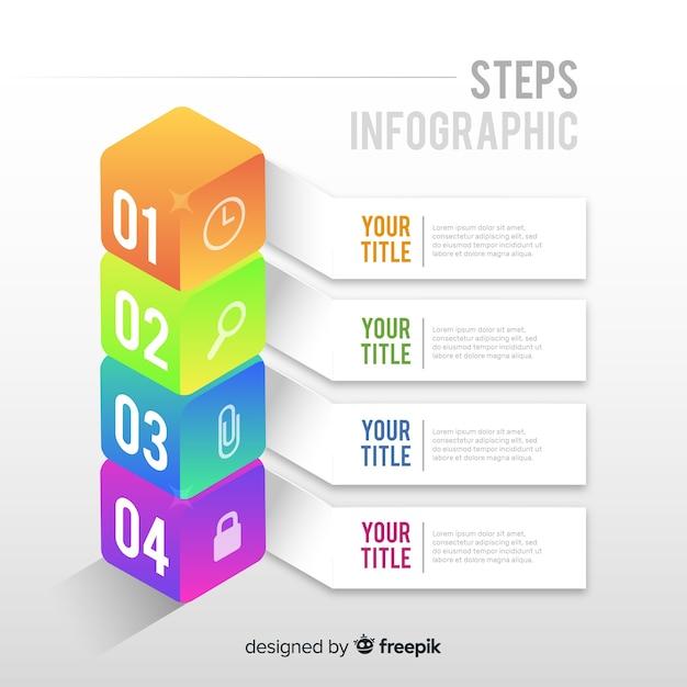 Modelo de infográfico com conceito de passos Vetor grátis