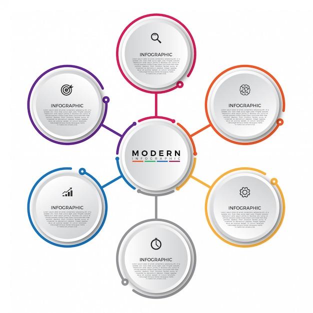 Modelo de infográfico com etiqueta de papel 3d, círculos integrados Vetor Premium