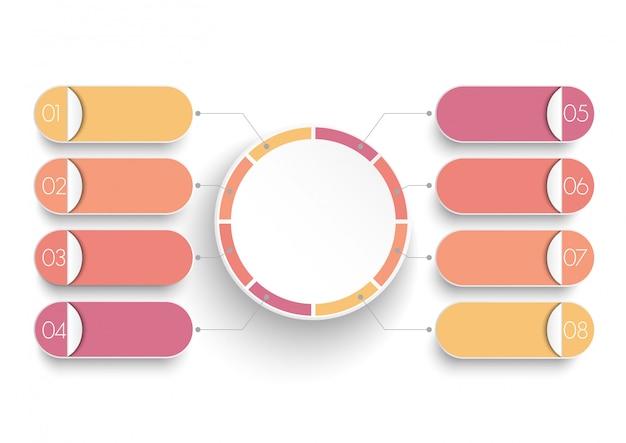 Modelo de infográfico com etiqueta de papel 3d, círculos integrados. Vetor Premium