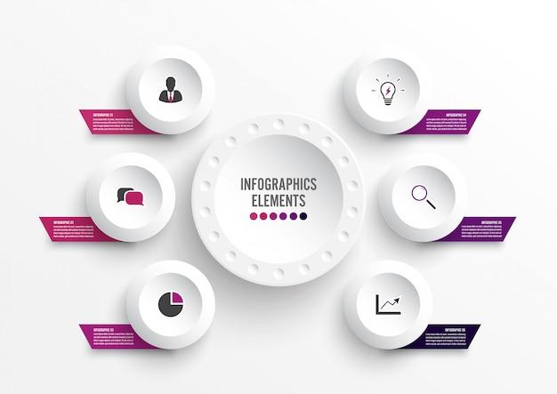 Modelo de infográfico com etiqueta de papel 3d. conceito de negócio com 6 opções. Vetor Premium
