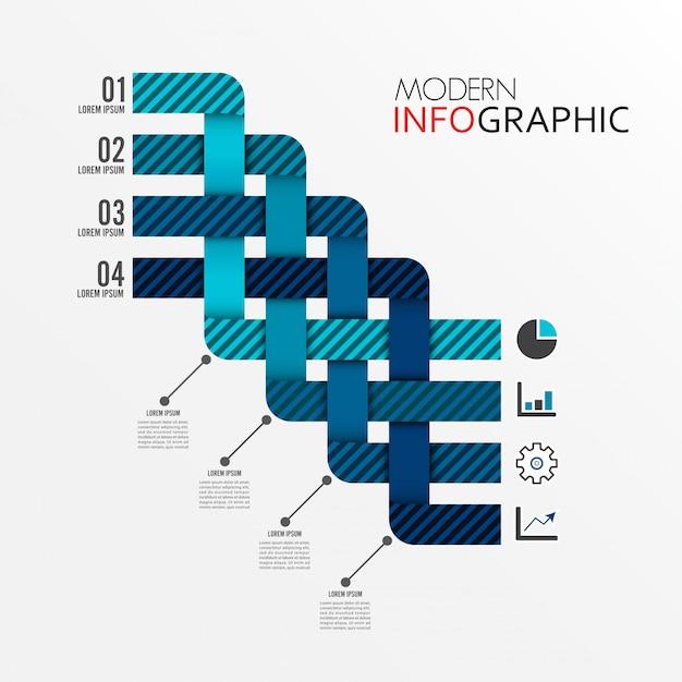 Modelo de infográfico com etiqueta de papel 3d Vetor Premium