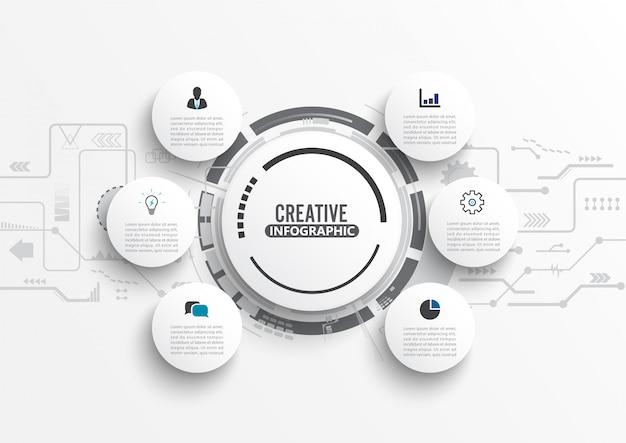 Modelo de infográfico com etiqueta de papel 3d. Vetor Premium