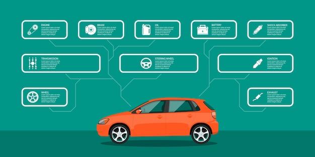 Modelo de infográfico com ícones de automóveis e peças de automóveis, conceito de serviço e reparo Vetor Premium