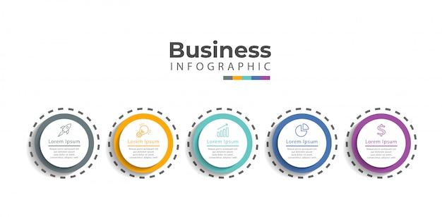 Modelo de infográfico com ícones e 5 opções ou etapas. Vetor Premium