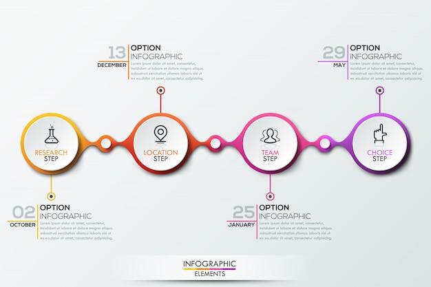 Modelo de infográfico com linha do tempo Vetor Premium