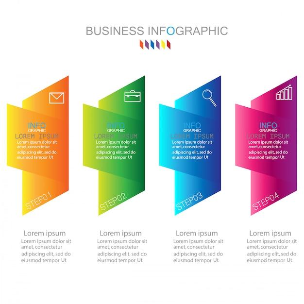 Modelo de infográfico com quatro etapas ou opções diagrama de processo Vetor Premium